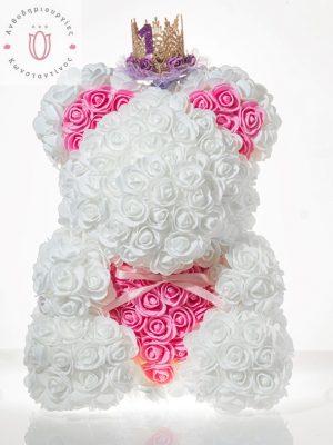 BIG ROSEBEAR WHITE & PINK HEART