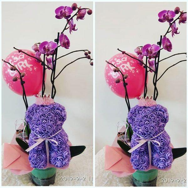 Πολυτελές δώρο για νεογέννητο. ροζ ορχιδέες σε κεραμικό μαζί με αρκουδάκι Rosebear