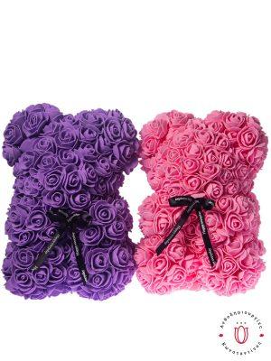 Αρκουδάκι με τριαντάφυλλα σε ροζ ή λιλά χρώμα που διαρκούν χρόνια