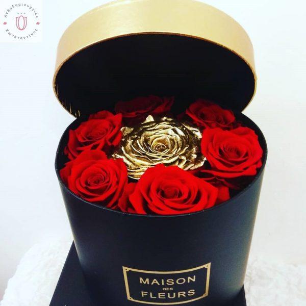 forever rose gold red | Forever Roses Ανθοπωλείο Ανθοδημιουργίες Τούμπα Θεσσαλονίκη