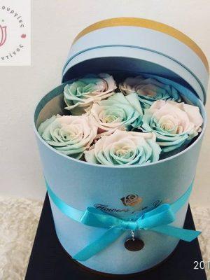forever rose in a light blue box