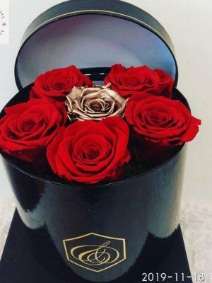 τριαντάφυλλα κόκκινα forever σε κουτί πολυτελείας