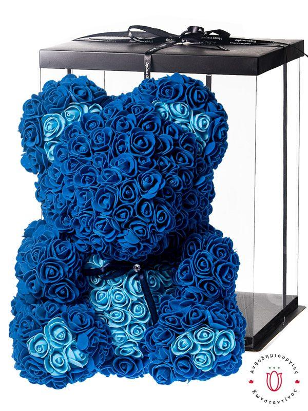 ΜΕΓΑΛΟ ΑΡΚΟΥΔΑΚΙ ΜΕ ΤΡΙΑΝΤΑΦΥΛΛΑ ΜΠΛΕ ΚΑΙ ΓΑΛΑΖΙΑ – ROSE BEAR – GIFT BOX