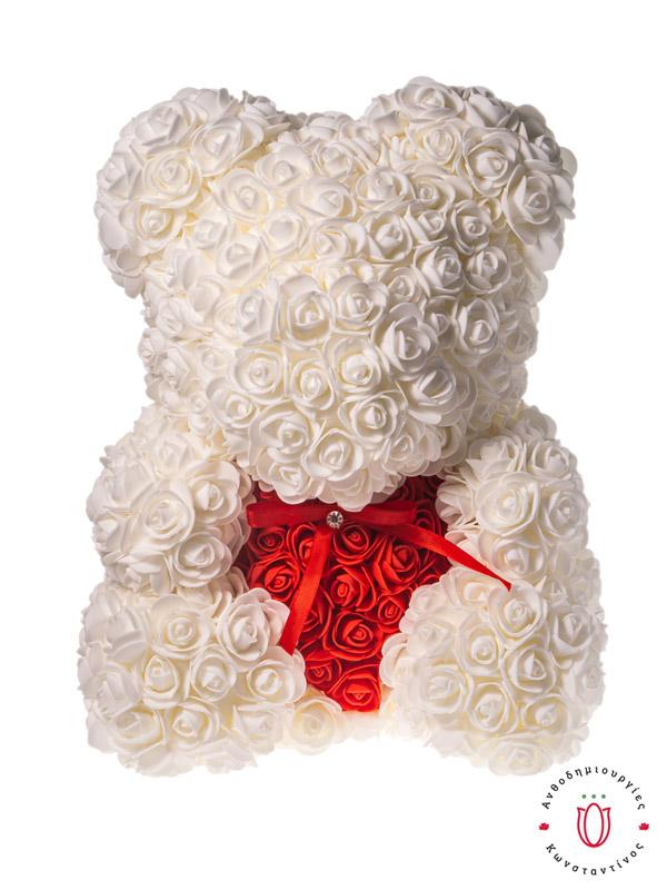 ROSE BEAR WHITE RED HEART
