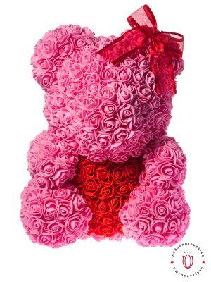 BIG ROSE BEAR PINK RED HEART