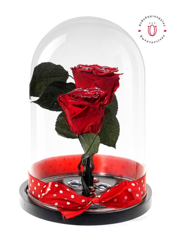 2 ΚΟΚΚΙΝΑ ΤΡΙΑΝΤΑΦΥΛΛΑ FOREVER ΜΕ GLITTER ΣΕ ΓΥΑΛΑ | Forever Roses Ανθοπωλείο Ανθοδημιουργίες Τούμπα Θεσσαλονίκη