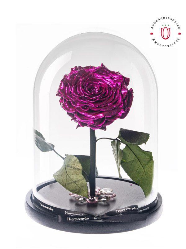 BEAUTY & THE BEAST PINK METALLIC Forever Roses Ανθοπωλείο Ανθοδημιουργίες Τούμπα Θεσσαλονίκη