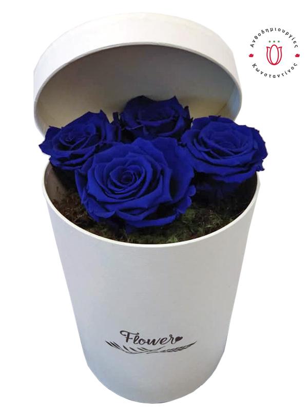 4 μπλε forever roses σε κουτί