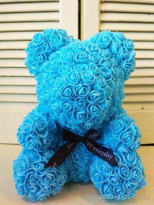 Αρκουδάκι με Γαλάζια Τριαντάφυλλα