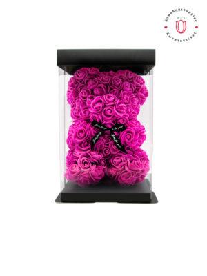 Αρκουδάκι με Φουξ Τριαντάφυλλα σε Κουτί Δώρου