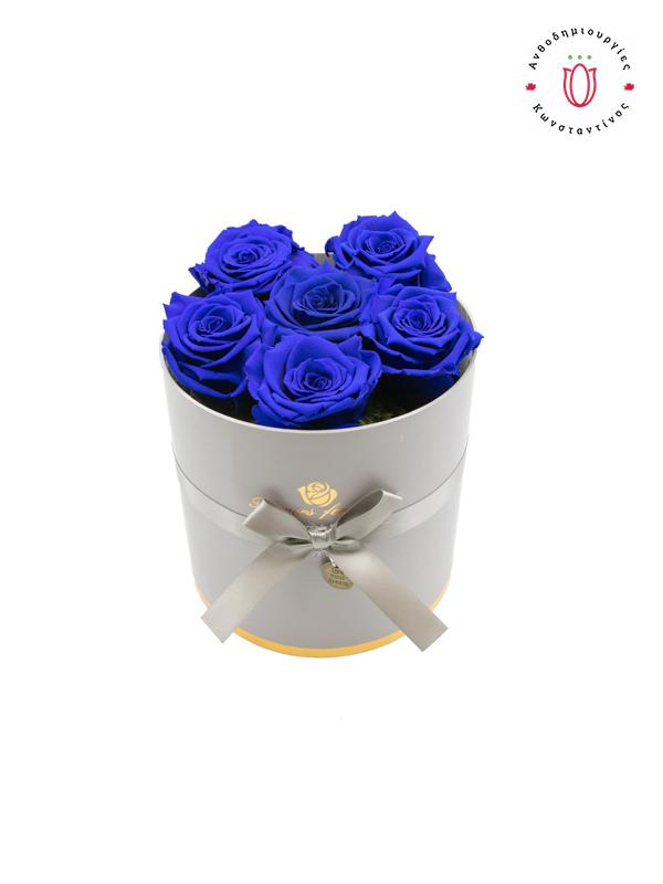 FOREVER ROSES BLUE IN A BOX | Online Ανθοπωλείο Ανθοδημιουργίες Τούμπα Θεσσαλονίκη