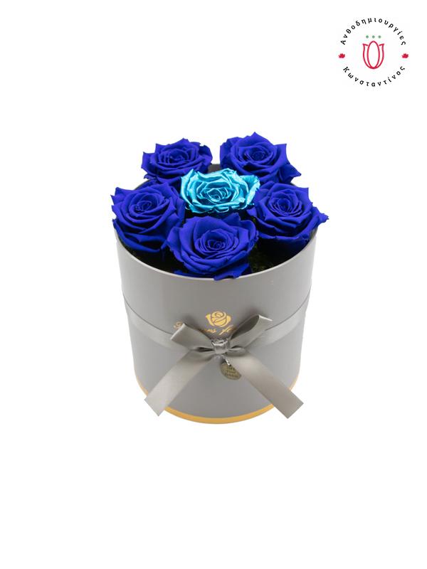 ETERNITY ROSES BLUE & BLUE METALLIC IN A BOX | Online Ανθοπωλείο Ανθοδημιουργίες Τούμπα Θεσσαλονίκη