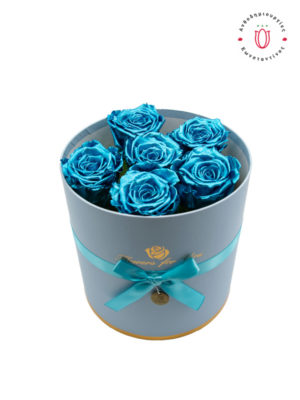 FOREVER ROSES BLUE METALLIC IN A BOX