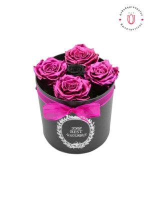 ETERNITY ROSES PINK METALLIC И BLACK В BOX Онлайн Флорист Флорист Тумба Салоники