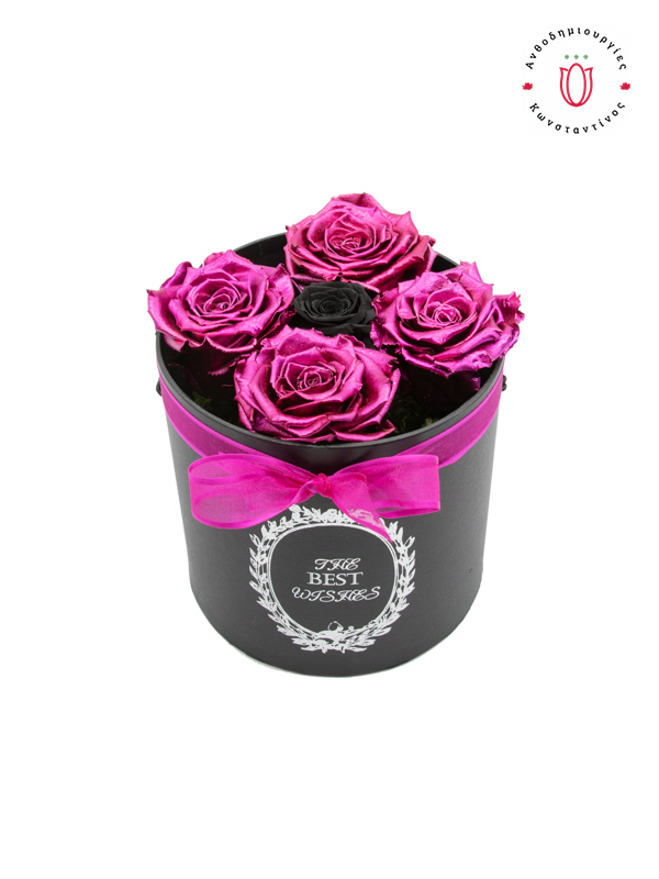 ETERNITY ROSES PINK METALLIC & BLACK IN A BOX | Online Florist Florist Toumba Thessaloniki