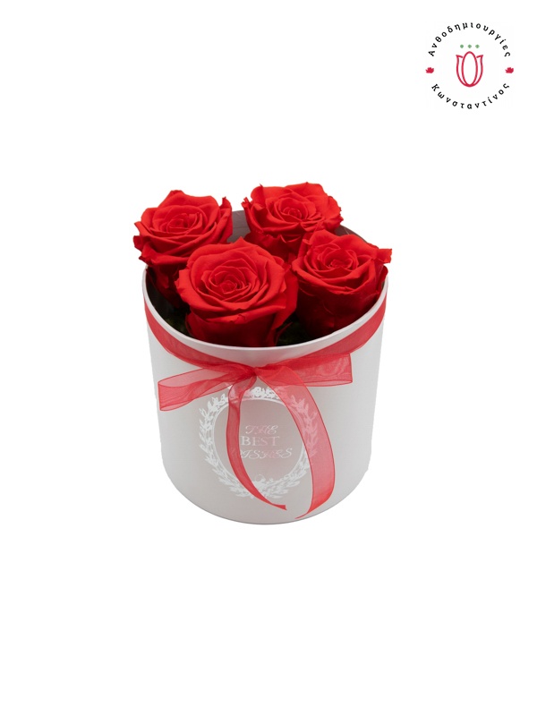 4 EVER ROSES RED IN A BOX в Салониках Онлайн Флорист Флорист Тумба Салоники