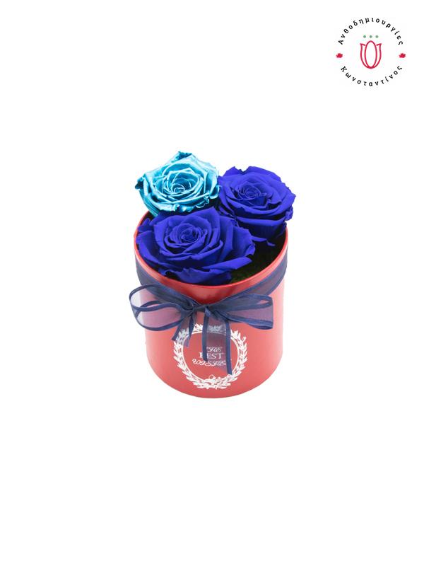 3 BLUE FOREVER ROSES | Online Ανθοπωλείο Ανθοδημιουργίες Τούμπα Θεσσαλονίκη