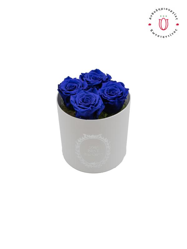 4 EVER ROSES BLUE IN A BOX Θεσσαλονίκη | Online Ανθοπωλείο Ανθοδημιουργίες Τούμπα Θεσσαλονίκη