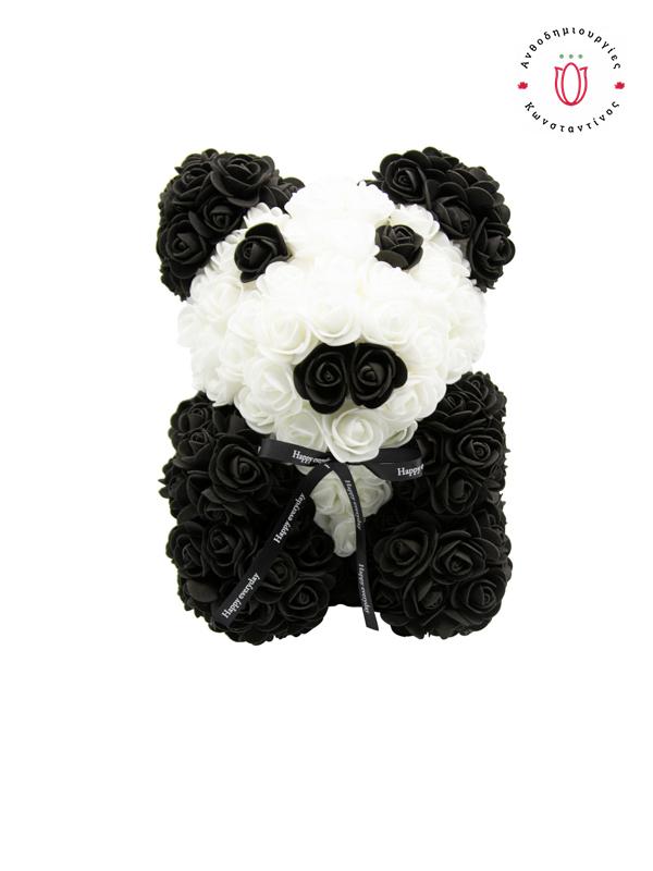 Αρκουδάκι Panda σε Κουτί Πολυτελείας ανθοπωλείο | Ανθοδημιουργίες Τούμπα Θεσσαλονίκη