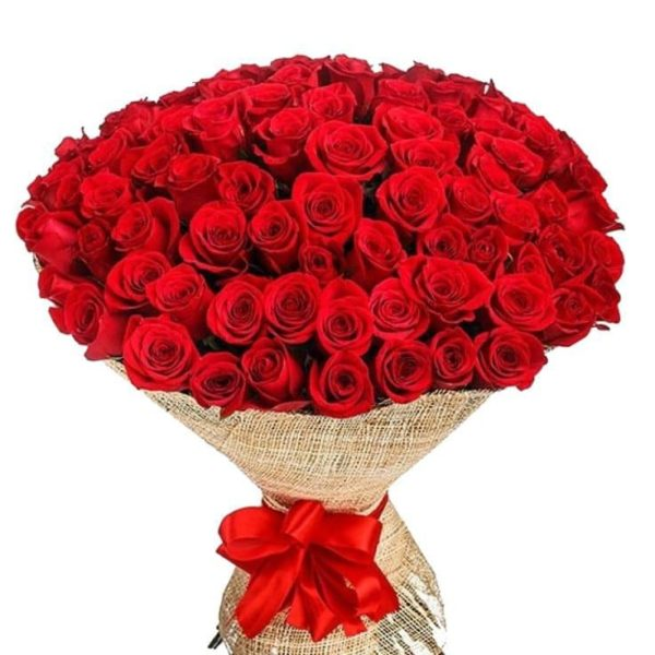 Ανθοδέσμη με 100 Τριαντάφυλλα