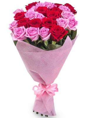 Bouquet with 29 Roses Pink and Red