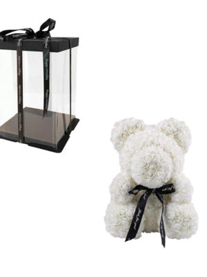 Bear with White Roses in Luxury Gift Box Thessaloniki