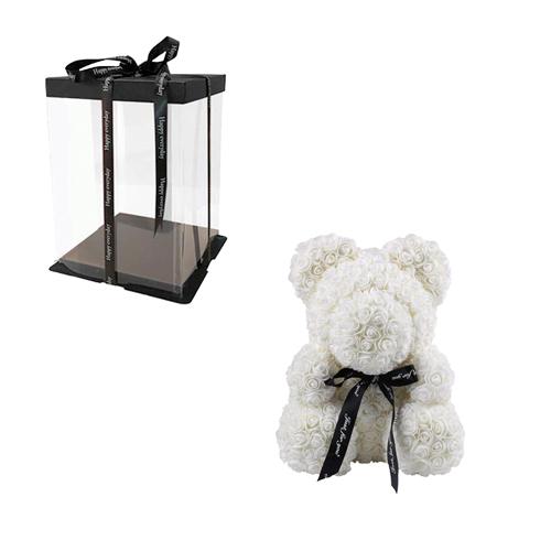 Αρκουδακι με Λευκά τριαντάφυλλα σε Κουτί Δώρου Πολυτελείας