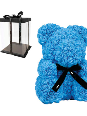 Αρκουδάκι με Γαλάζια Τριαντάφυλλα σε Κουτί Δώρου