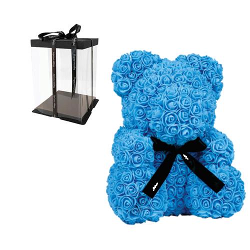 Αρκουδάκι με Γαλάζια Τριαντάφυλλα σε Κουτί Δώρου θεσσαλονίκη | ανθοπωλεία θεσσαλονίκη τούμπα