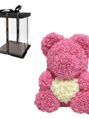 Αρκουδάκι με Φουξ Τριαντάφυλλα και Λευκή Καρδιά σε Κουτί Δώρου