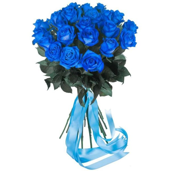 Bouquet with 25 Blue Roses