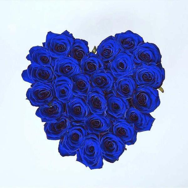 Μπλέ Τριαντάφυλλα Forever σε Κουτί Καρδιάς