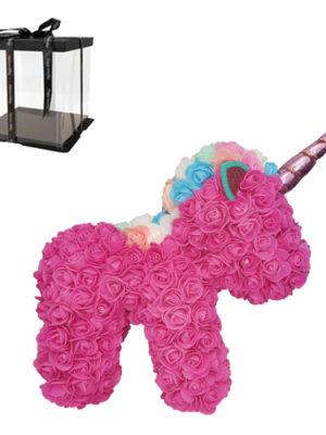 Αρκουδάκι Μονόκερος με τριαντάφυλλα 40cm Ροζ