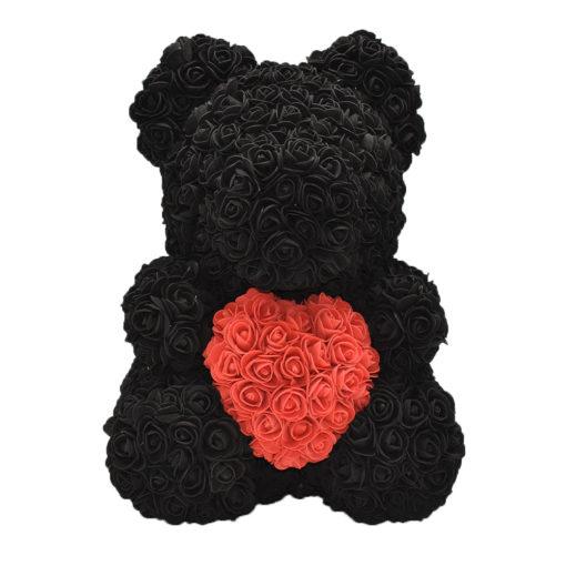 Αρκουδάκι Rose Bear διακοσμημένο με Μαύρα Τριαντάφυλλα και Κόκκινη καρδιά μεγέθους 40cm