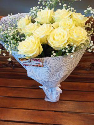Ανθοδέσμη με Λευκά Τριαντάφυλλα